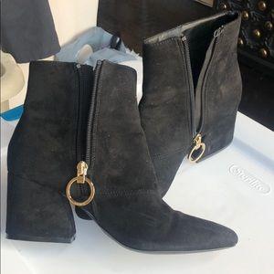 Suede Black Boots 2 1/4 inch heel.